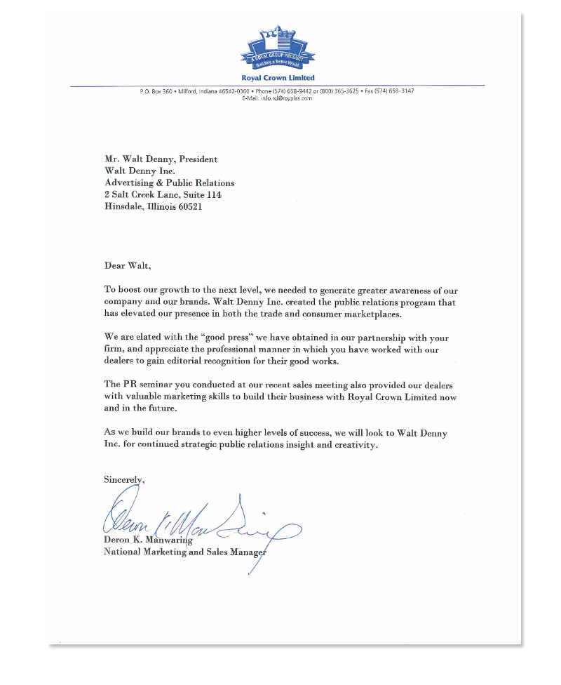 Royal Outdoor Products Testimonial Letter